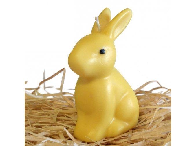 Svíčka - velikonoční sedící zajíček 10 cm žlutý