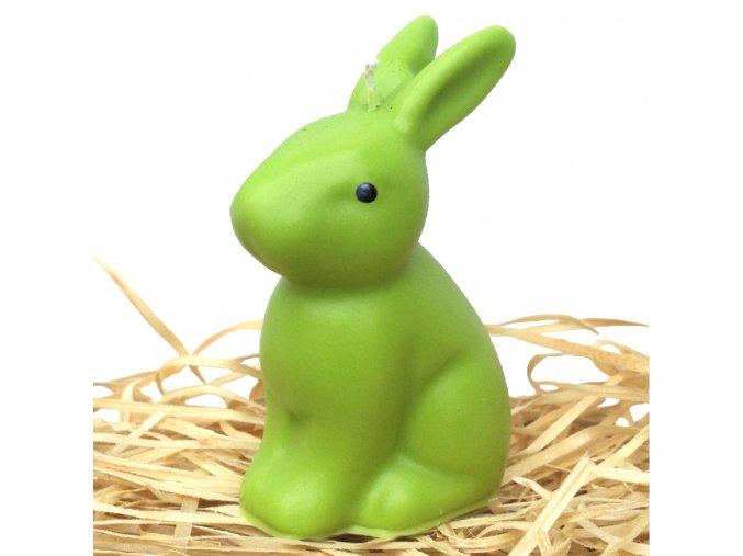 Svíčka - velikonoční sedící zajíček 10 cm zelený