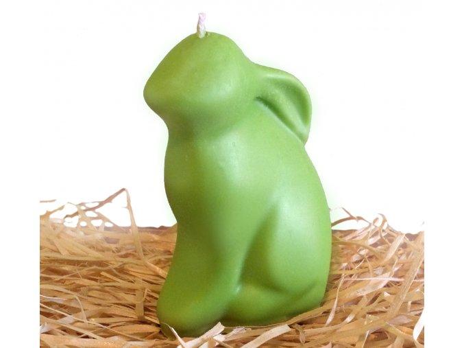 Svíčka - velikonoční velký sedící zajíc 12 cm zelený
