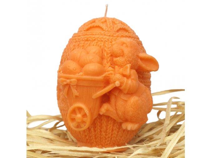 Svíčka s reliéfem - zajíček na vajíčku s trakařem 8 cm oranžový
