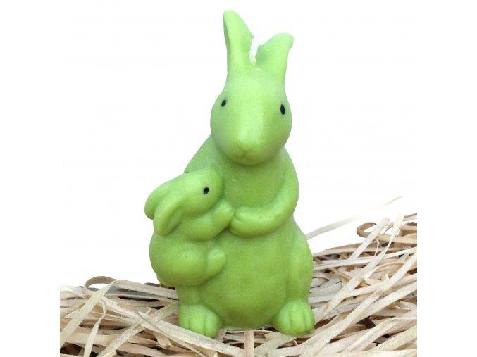 Svíčka - velikonoční zajíc se zajíčkem na boku 9.5 cm zelený