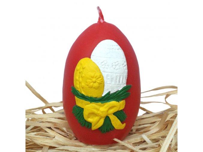 Ručně malovaná svíčka s reliéfem - velikonoční vajíčka s mašličkou červené 8.5 cm