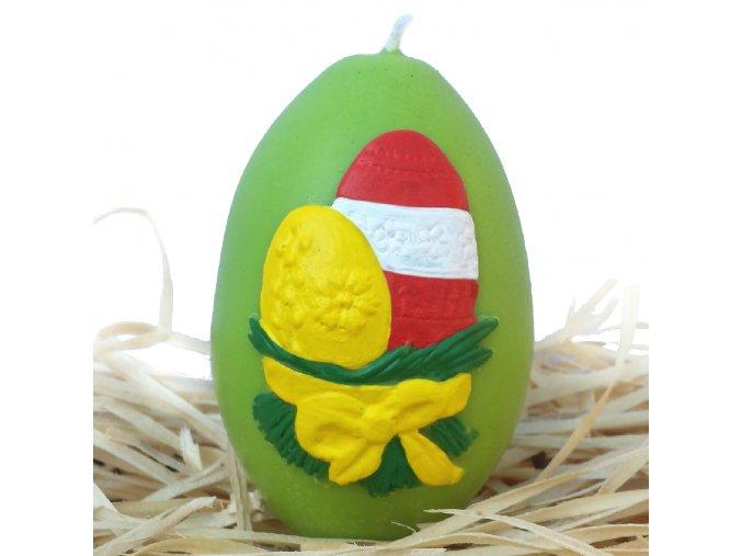 Ručně malovaná svíčka s reliéfem - velikonoční vajíčka s mašličkou zelené 8.5 cm