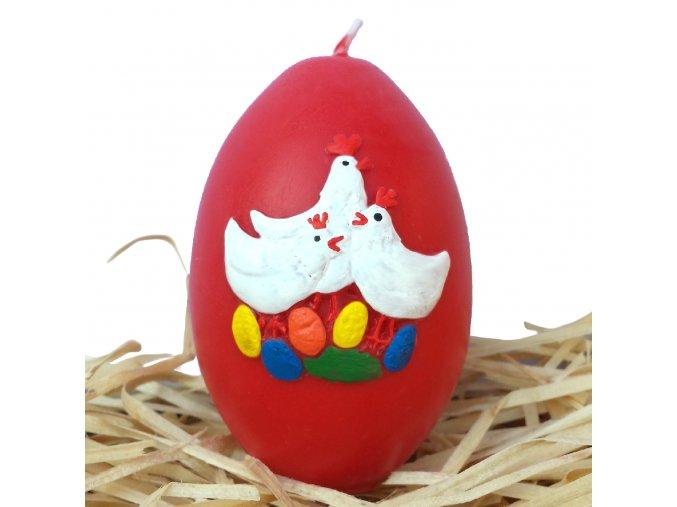 Ručně malovaná svíčka s reliéfem - vajíčko se slepičkami červené 8.5 cm
