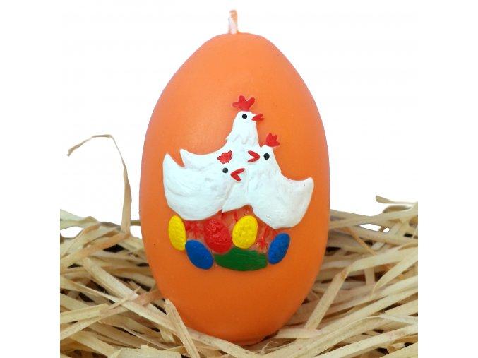 Ručně malovaná svíčka s reliéfem - vajíčko se slepičkami oranžové 8.5 cm