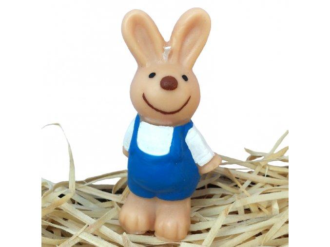 Ručně malovaná svíčka - zajíček s modrými kalhotami 9.3 cm