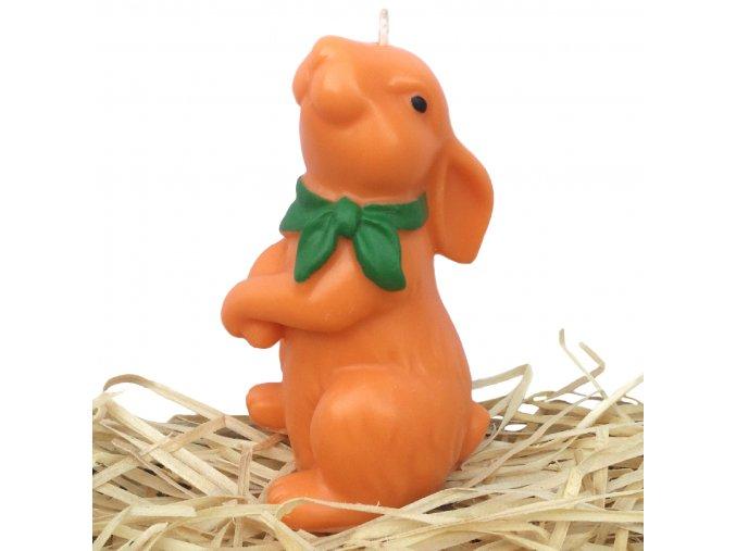 Ručně malovaná svíčka - velikonoční zajíc se zeleným šátkem 11.5 cm oranžový