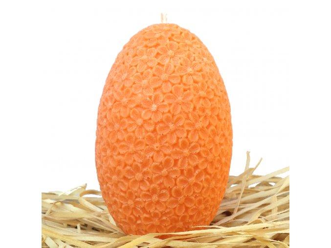 Svíčka s reliéfem - velké velikonoční květinové vajíčko 11.5 cm oranžové