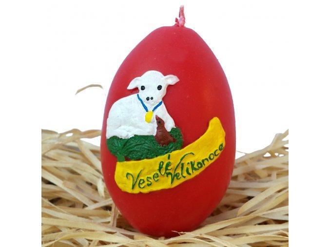 Ručně malovaná svíčka s reliéfem - velikonoční vajíčko s beránkem 8.5 cm