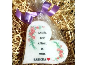 Dárková svíčka pro babičku - srdce 11 cm