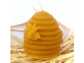 Svíčka ze včelího vosku - úl se včelkami