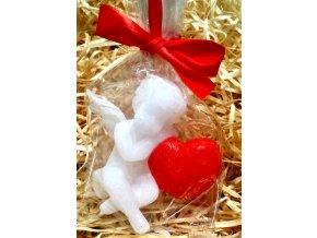 Svíčka - malovaný andílek se srdcem 7,5 cm