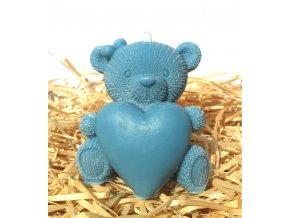 Svíčka - medvídek se srdcem modrý