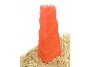 Svíčka - věž s reliéfem - sytě oranžová