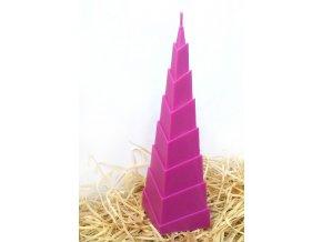 Svíčka - geometrická - pyramida - violet