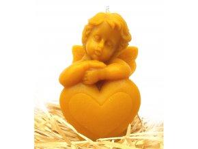 Svíčka ze včelího vosku - anděl s velkým srdcem