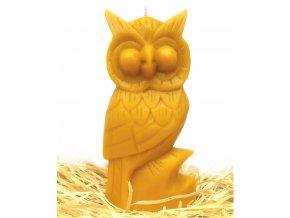 Svíčka ze včelího vosku - velká sova