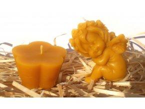 Sada svíček ze včelího vosku - andílek + květ