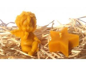 Sada svíček ze včelího vosku - andílek posílající pusu + hvězda