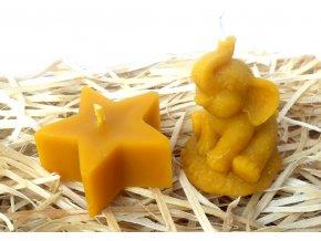 Sada svíček ze včelího vosku - malý slon + hvězda