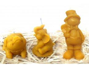 """Sada svíček ze včelího vosku - """"zlaté"""" prasátko + malý slon + kominíček pro štěstí"""