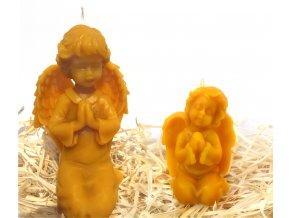 Sada dvou svíček ze včelího vosku – modlící se anděl + modlící se andílek