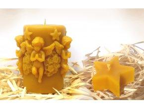 Sada dvou svíček ze včelího vosku - vánoční válec s anděly + hvězda