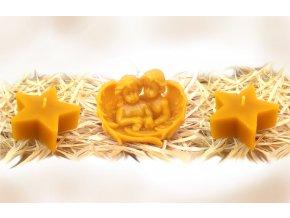 Sada tří svíček ze včelího vosku: andílci v křídle + dvě hvězdy