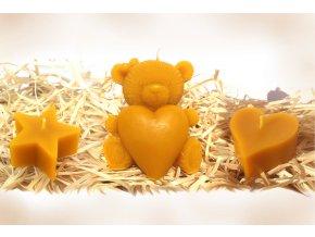 Sada tří svíček ze včelího vosku – hvězda + medvídek se srdcem + srdíčko