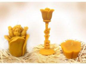 Sada tří svíček ze včelího vosku – andílek v květu + růže LOVE + květ