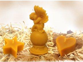 Sada svíček ze včelího vosku – hvězda + anděl na kouli + srdíčko