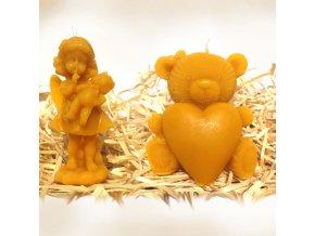 Sada svíček ze včelího vosku – andělka s medvídkem + medvídek se srdcem