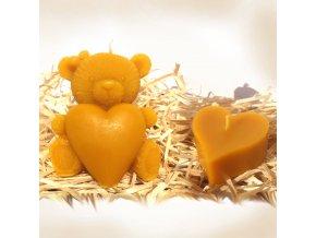 Sada svíček ze včelího vosku – srdíčko + medvídek se srdcem