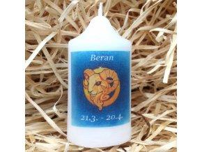 Svíčka se znamením zvěrokruhu - beran - 8,2 x 4,9 cm - modrý
