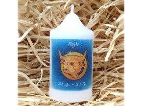 Svíčka se znamením zvěrokruhu - býk - 8,2 x 4,9 cm - modrý