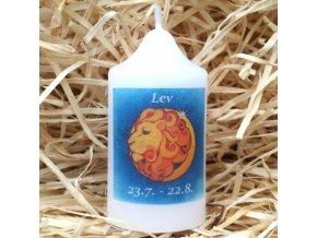 Svíčka se znamením zvěrokruhu - lev - 8,2 x 4,9 cm - modrá