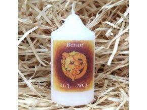 Svíčka se znamením zvěrokruhu - beran - 8,2 x 4,9 cm - oranžový