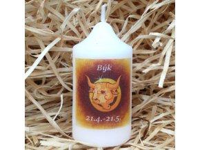 Svíčka se znamením zvěrokruhu - býk - 8,2 x 4,9 cm - oranžový