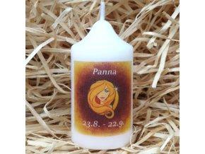 Svíčka se znamením zvěrokruhu - panna - 8,2 x 4,9 cm - oranžová