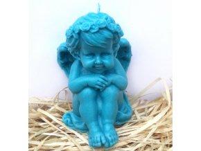Svíčka - sedící anděl modrý 11 cm