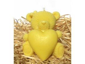 Svíčka - medvídek se srdcem žlutý