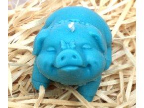Svíčka - prasátko s motýlkem modré 5 cm