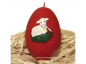 Ručně malovaná svíčka s reliéfem - vajíčko s beránkem 6.5 cm