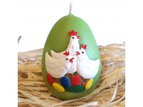 Ručně malovaná svíčka s reliéfem - vajíčko se slepičkami 6.5 cm