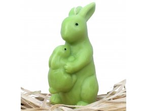 Svíčka - velikonoční zajíc se zajíčkem na břiše 10 cm zelený
