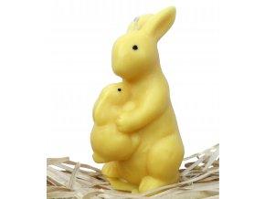 Svíčka - velikonoční zajíc se zajíčkem na břiše 10 cm žlutý