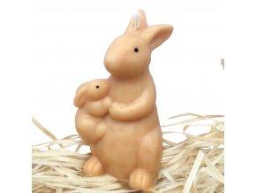 Svíčka - velikonoční zajíc se zajíčkem na boku 9.5 cm béžový