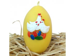 Ručně malovaná svíčka s reliéfem - vajíčko se slepičkami žluté 8.5 cm