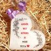 Dárková svíčka pro tetu - srdce 11 cm