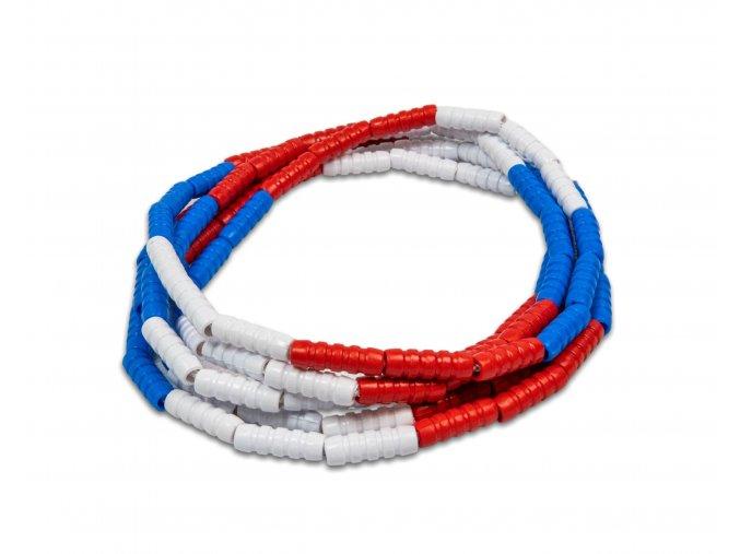 Červeno/modro/bílé korálky